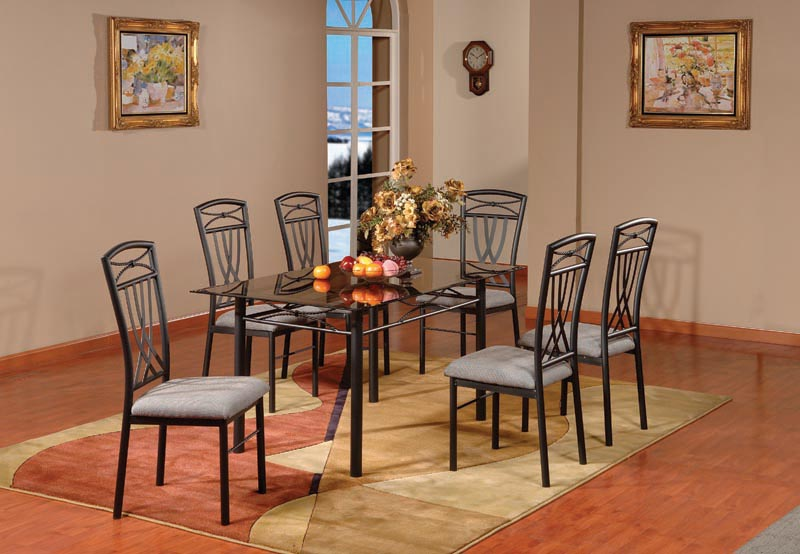 pc set metal with glass top dining room kitchen table 6 chairs