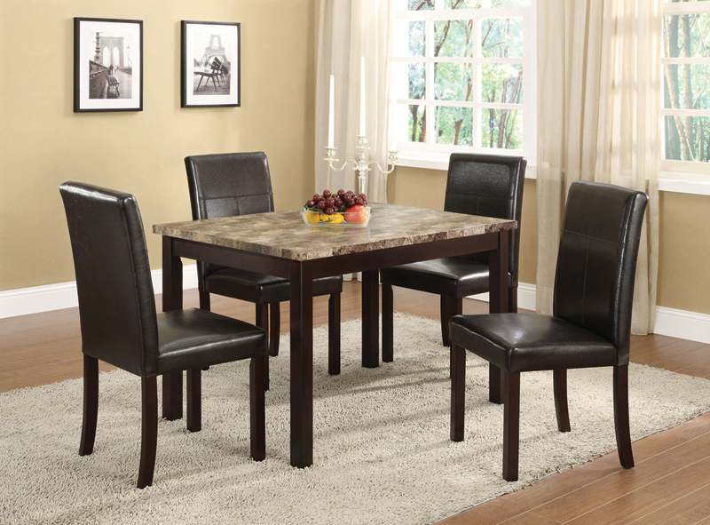 5 pc set faux marble with espresso finish dining room for Fake kitchen set