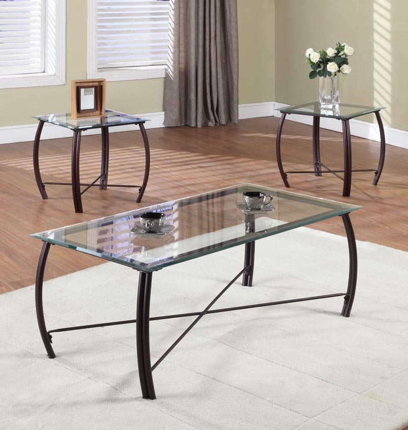 Glass And Metal Frame Coffee Table 2 End Tables Occasional Set EBay